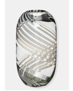 HÜBSCH  - Vase glas klar grøn/hvid