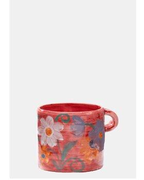 ANNA+NINA - Floral Mug in Jazzy Red